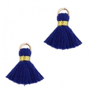 Ibiza style tassels 1.5mm Gold-dark blue