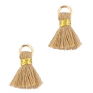 Ibiza style tassels 1.5mm Gold-beige brown