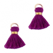 Ibiza style tassels 1.5mm Gold-purple