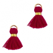 Ibiza style tassels 1.5mm Gold-aubergine red