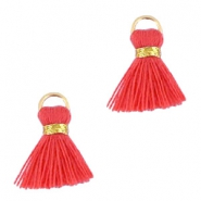Ibiza style tassels 1.5mm Gold-vermillion coral red orange