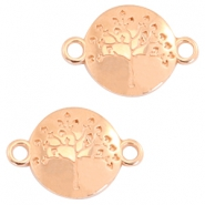 DQ metal charms tree of life connector 23x15mm Rose gold (nickel free)
