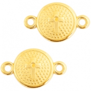 DQ metal charms connector with cross 20X13mm Gold (nickel free)