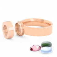 Stainless steel rings for 7mm Cabochon / Swarovski SS34  Rose gold