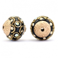 Bohemian beads 14mm Black-crystal AB-gold