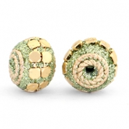 Bohemian beads 12mm Green glitter-gold
