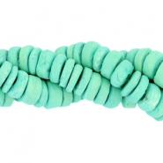 Coconut beads disc 8mm Turquoise green