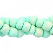 Coconut beads disc 4mm Light turquoise green