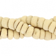 Coconut beads disc 6mm Soft moonlight yellow