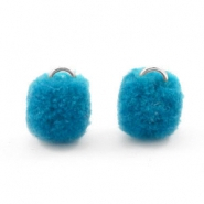 Silver pompom charms with eye 15mm Dark ocean blue