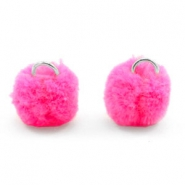 Silver pompom charms with eye 15mm Hot pink