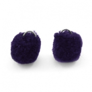 Silver pompom charms with eye 15mm Dark purple