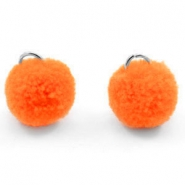 Silver pompom charms with eye 15mm Coral red orange