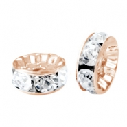Rhinestone crystal rondelle 8mm Rose gold-crystal