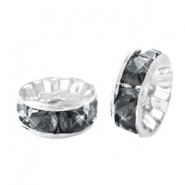 Rhinestone crystal rondelle 8mm Silver-antracite