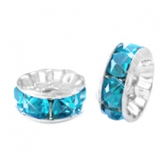 Rhinestone crystal rondelle 6mm Silver-turquoise