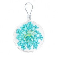 Charms with dried flowers 20mm Turquoise-blue