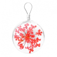 Charms with dried flowers 20mm Bright red