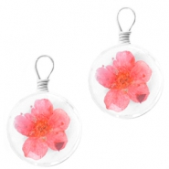 Charms with dried flowers 12mm Rose red