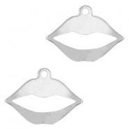 Stainless steel charms lips Silver