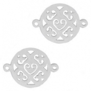 Stainless steel charms mandala connector Silver
