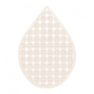 Drop shaped bohemian pendants 35mm Crème beige