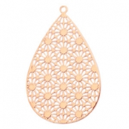 Drop shaped bohemian pendants with eye 35mm  Rose gold