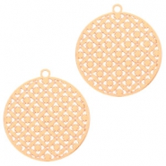 Round bohemian pendants with eye 22mm Rose gold