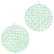 Round bohemian pendants with eye 22mm Pastel turquoise green