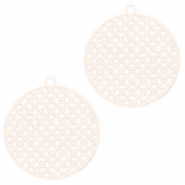 Round bohemian pendants with eye 22mm Crème beige