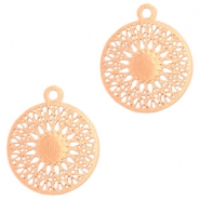 Round bohemian pendants with eye 18mm Rose gold