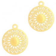 Round bohemian pendants with eye 18mm Gold