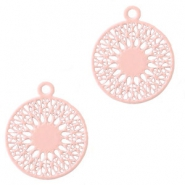 Round bohemian pendants with eye 18mm Light pink