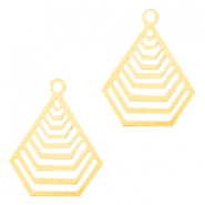 Geografical shaped Bohemian Pendants with eye 20mm Gold