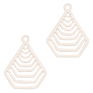 Geografical shaped Bohemian Pendants with eye 20mm Crème beige
