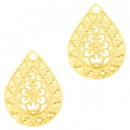 Bohemian drop shaped pendants 20mm Gold