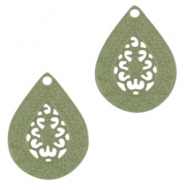 Bohemian drop shaped pendants 20mm Pastel army green