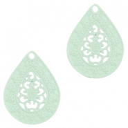 Bohemian drop shaped pendants 20mm Pastel turquoise green