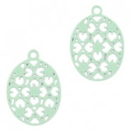 Oval Bohemian pendants with eye 15mm Pastel turquoise green