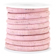Trendy stitched cork 6x4mm  Vintage pastel pink