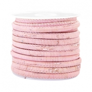 Trendy stitched cork 4x3mm Vintage pastel pink