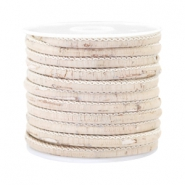 Trendy stitched cork 4x3mm Vintage silk beige