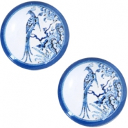 Basic Delft blue cabochon 20mm peacock White-blue