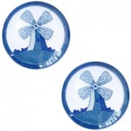 Basic Delft blue cabochon 12mm windmill White-blue