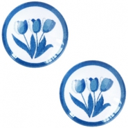 Basic Delft blue cabochon 20mm Tulips White-blue