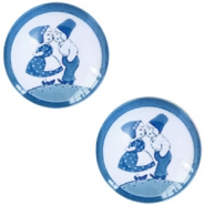 Basic Delft blue cabochon 20mm kissing couple White-blue