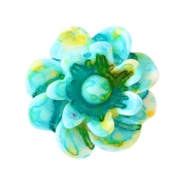 Flower beads 12mm Turquoise-yellow