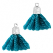 Ibiza style tassels with end cap Silver-petrol blue