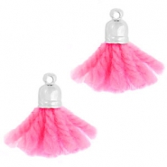 Ibiza style tassels with end cap Silver-pink