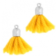 Ibiza style tassels with end cap Silver-sunflower yellow